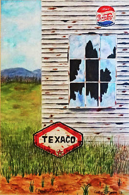 Texaco Sign Painting - Closed On Sundays by Candice Martin