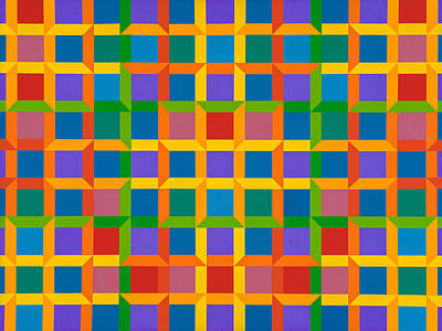 Painting - Closed Quadrilateral Lattice by Janet Hansen