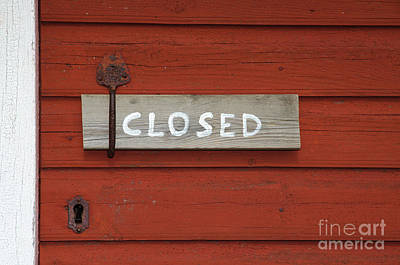 Photograph - Closed Sign At An Old Door Handle by Kennerth and Birgitta Kullman