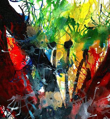Red Green And Gold Abstracts Painting - Closer Look 3-mixed Media Floral Lily by Garima Srivastava