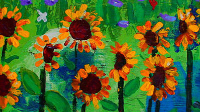 Sunflower Painting - Closeup From Day And Night In A Sunflower Field by Angela Annas