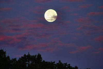 Photograph - Closeup Moonset In Colorful Clouds by Kathryn Meyer