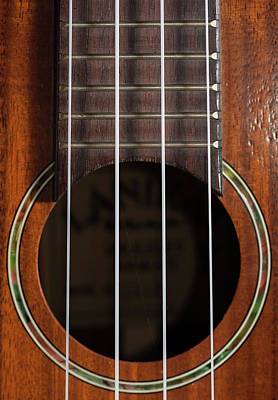 Concert Ukulele Photograph - Closeup Of A Ukulele Guitar With Strings by Stefan Rotter