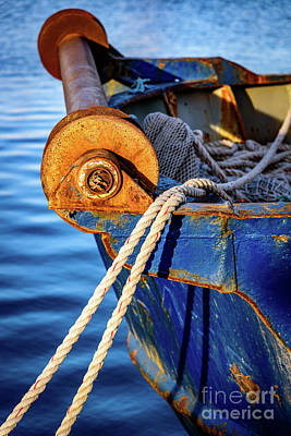 Fisherman Photograph - Closeup Of Blue Rusting Fishing Boat In Rhodes, Greece by Global Light Photography - Nicole Leffer