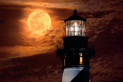 Photograph - Closeup Of Full Moon Rising Over St Augustine Lighthouse by Justin Kelefas