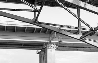 Photograph - Closeup Of Metal Bridge Walkway In Black And White by John Williams