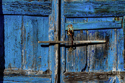 Photograph - Closeup Of Old Greek Isle Blue Door In Pyrgos Village, Santorini Island, Greece by Global Light Photography - Nicole Leffer