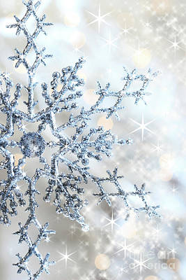 Closeup Of Snowflake Art Print by Sandra Cunningham