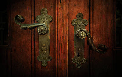 Closeup Of Two Ornamented Handles Art Print by Jaroslaw Blaminsky