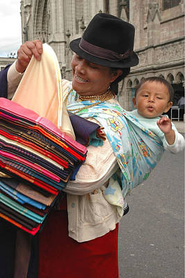 Photograph - Cloth Vendor In Quito by Alan Lenk