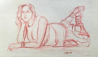 Drawing - Clothed Miodel by Alejandro Lopez-Tasso