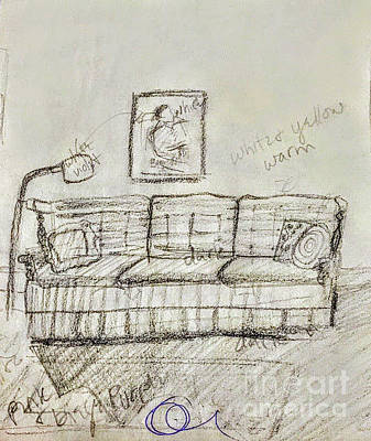 Drawing - Clotherly Living Room by Suzn Art Memorial