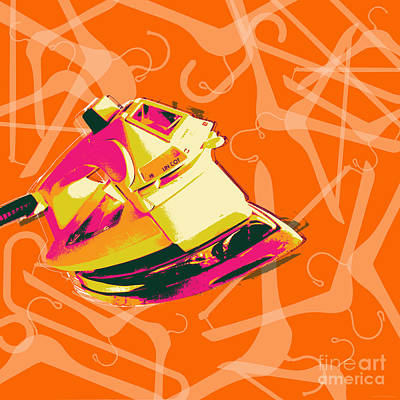 Digital Art - Clothes Iron Pop Art by Jean luc Comperat