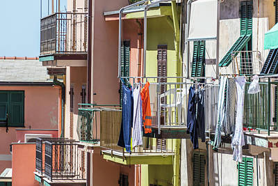 Photograph - Clothes Line And Balcony Cinque Terre  by John McGraw