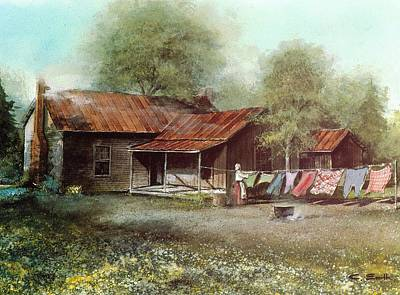 Laundry Painting - Clothes Line by Charles Roy Smith