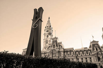 City Hall Digital Art - Clothes Pin And City Hall In Sepia by Bill Cannon