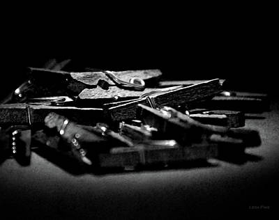 Photograph - Clothes Pins Bw by Lesa Fine