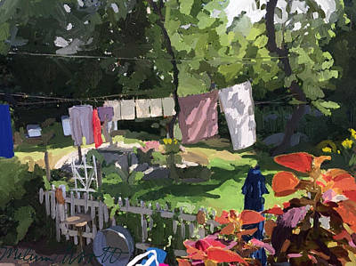 Clothesline And Coleus In An East Gloucester  Ma Garden  Art Print