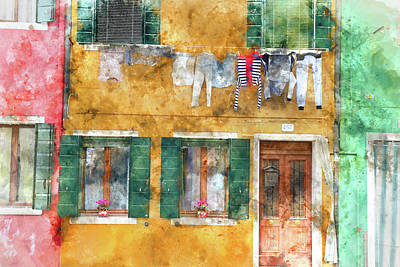 Photograph - Clothesline On A Building In Burano Italy by Brandon Bourdages