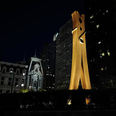 Clothespin At Night - Philadelphia Art Print by Rona Black