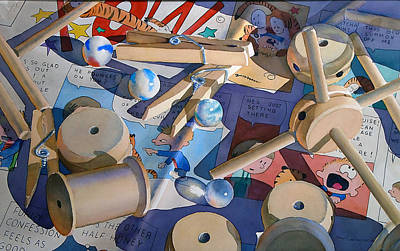 Tinker Toy Painting - Clothespins And Tinkertoys by Patrick Clark
