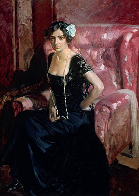 Woman In Black Dress Painting - Clotilde In An Evening Dress by Joaquin Sorolla y Bastida