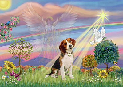 Painting - Cloud Angel And Beagle by Jean Batzell Fitzgerald