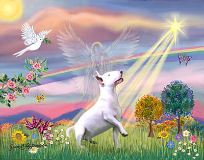 Digital Art - Cloud Angel And Bull Terrier by Jean Batzell Fitzgerald