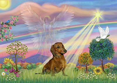 Digital Art - Cloud Angel And Dachshund by Jean Batzell Fitzgerald