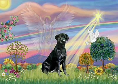 Painting - Cloud Angel / Black Labrador by Jean Batzell Fitzgerald