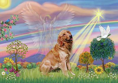 Digital Art - Cloud Angel / Golden Retriever by Jean Batzell Fitzgerald