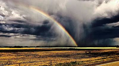 Photograph - Cloud Burst And Rainbow Early Spring Storm by Brian Sereda