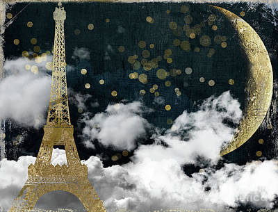 Big Moon Painting - Cloud Cities Paris by Mindy Sommers