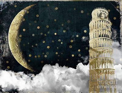 Big Moon Painting - Cloud Cities Pisa Italy by Mindy Sommers
