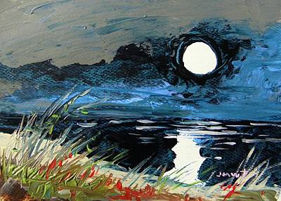 Sea Moon Full Moon Painting - Cloud Cover by John Williams