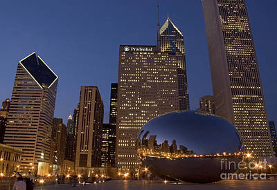 Chicago Photograph - Cloud Gate At Night by Timothy Johnson