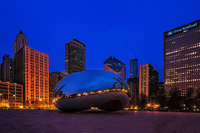 Horizontal Photograph - Cloud Gate At Twilight by Andrew Soundarajan