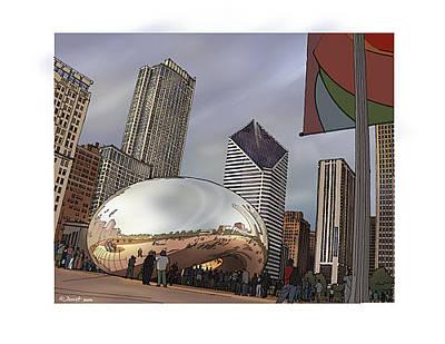 Chicago Skyline Mixed Media - Cloud Gate Chicago by Dennis Alex