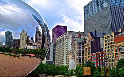 Photograph - Cloud Gate Reflects The Windy City by Frozen in Time Fine Art Photography