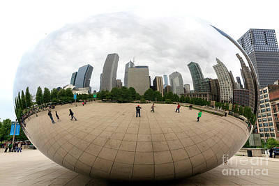 Photograph - Cloud Gate Skyscrapers Chicago by John Rizzuto