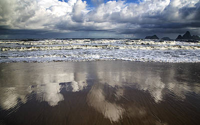 Photograph - Cloud Reflections On A Beach by Georgia Fowler