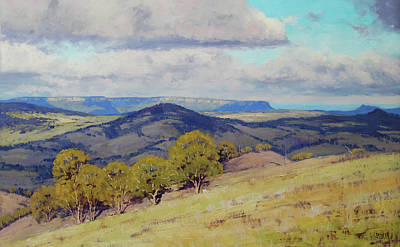 Plein Air Artists Painting - Cloud Shadows Over The Kanimbla Valley by Graham Gercken