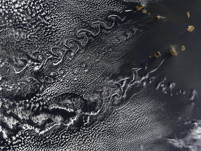 Satellite Views Photograph - Cloud Vortices Over The Cape Verde by Stocktrek Images