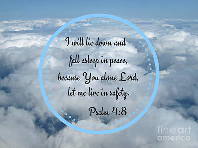 Digital Art - Cloud Word Art Psalm 4 Art Prints by Valerie Garner