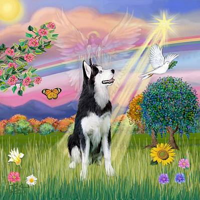 Digital Art - Cloudangel #1 - Siberian Husky by Jean Batzell Fitzgerald