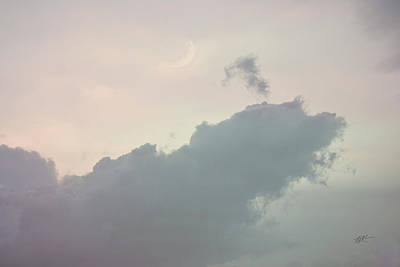 Photograph - Clouded Moon At Sunset by rd Erickson