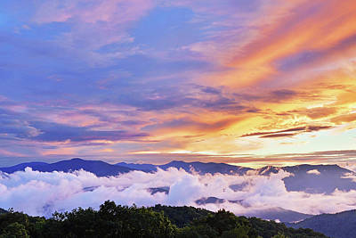 Photograph - Clouds And Color Sunset by Alan Lenk
