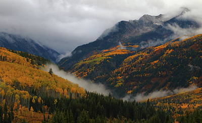 Art Print featuring the photograph Clouds And Fog Encompass Autumn At Mcclure Pass In Colorado by Jetson Nguyen