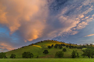 Clouds And Hill At Sunrise Art Print
