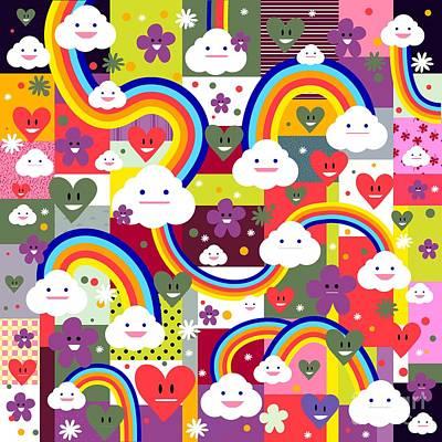 Cupcake Love Digital Art - Clouds And Rainbows by Alondra Hanley